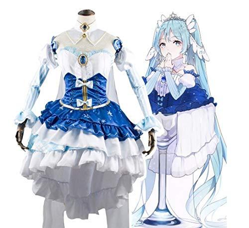Sunkee Anime Vocaloid Cosplay Snow Miku Hatsune Kostüme für Karneval Halloween (S, Weiß Blau)