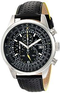 Burgmeister Burgmeister Melbourne - Reloj de caballero de cuarzo, correa de piel color negro (con cronómetro) de Burgmeister