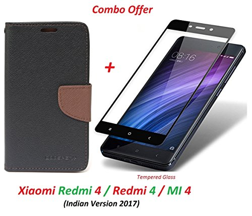 RidivishN Flip Cover Case Wallet Style + 2.5D curved 3D Edge to Edge Tempered Glass - Mi Redmi 4