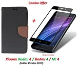 Mi Redmi 4 / xiaomi redmi 4 / Redmi 4 (COMBO OFFER) Flip Cover Case Wallet Style ( Black Brown ) + 2.5D curved 3D Edge to Edge Tempered Glass Mobile Screen Protector ( Black ) BY RidivishN (Not Compatible for Redmi Note 4)