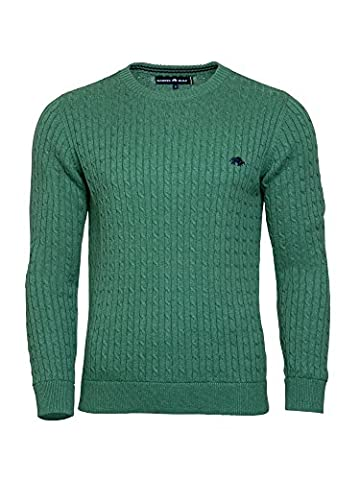 Raging Bull Men's Signature Cable Knit Jumper, Green, Large