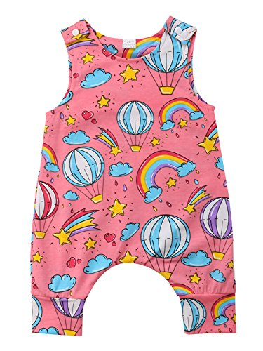 Baby Boys Fire Balloon Outfit,Baby Girls Summer Romper Jumpsuit,Unisex Baby Hot Air Balloon Romper