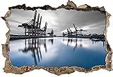 Hafen im Abendschein B&W Detail Wanddurchbruch im 3D-Look, Wand- oder Türaufkleber Format: 62x42cm, Wandsticker, Wandtattoo, Wanddekoration
