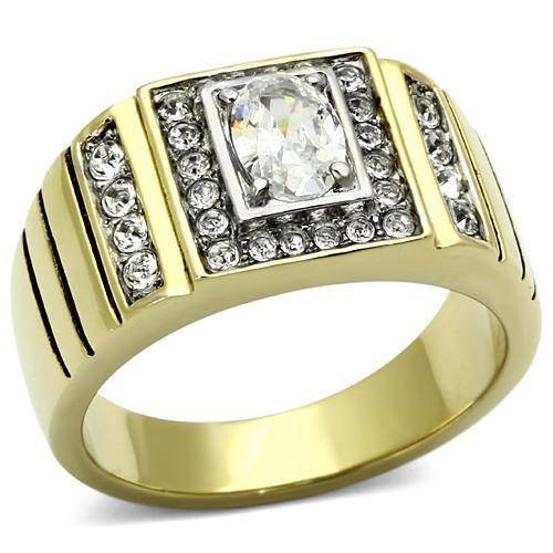 White Herren-ring Gold Cut Princess (YourJewelleryBox Herren Ring Zirkonia AAA-Grad TK755pb Gr. 68 (21.6))