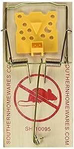 Southern Homewares Holz Snap Spring Action Rattenfalle mit erweitertem Käse Form Trigger