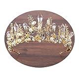 AMDXD Placcato Oro Gioielli per Capelli da Sposa Cristallo Corona Perla Zirconia Cubico Fiore Diademi Donna Oro