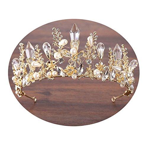 AMDXD Vergoldet Schmuck Haar Hochzeit Kristall Krone Perlen Zirkonia Blume Diademe Damen Gold