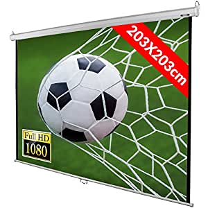 """Jago Manual Pull Down Projector Screen (Choice of Size) White Office Home Cinema Theatre Sports Projection 203x203 cm (289 cm Screen Diagonal/ 113"""") Retractable HD Projector"""
