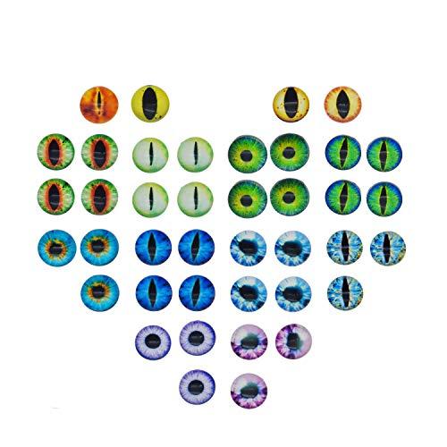 Julie Wang 200PCS 10x10MM Runde Glas Dragon Cat Eye Cabochon für Puppe Tier Augen Machen oder Schmuck Machen