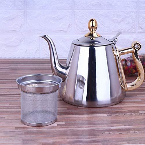 0Miaxudh Teekanne, 1.5L Edelstahl Kitchen Brew Tea Coffee Wasserkocher, Induktionsherd Wasserkocher - Silber - Brew-wasserkocher-set