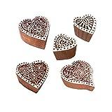 Royal Kraft Jaipuri Muster Herz und Blumen Holz Stempel für Drucken (Set von 5)