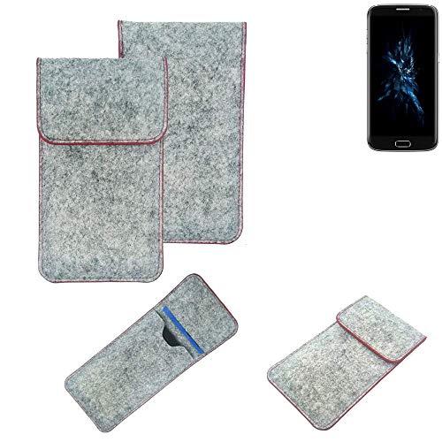 K-S-Trade® Filz Schutz Hülle Für -Bluboo Edge- Schutzhülle Filztasche Pouch Tasche Case Sleeve Handyhülle Filzhülle Hellgrau Roter Rand