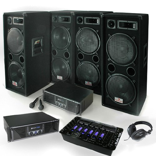 DJ PA Set Bass First Pro 2x Amp 4x Boxen Mixer 4000W