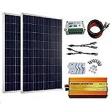 ECO-WORTHY 200 Watt off-Grid Solare Kit: 2PCS 100 W Poli Pannello Solare + 1 KW Pure Sine Wave Inverter + Cavo Solare + 15A Charge Controller + Y MC4 connettore + Z staffe di Montaggio