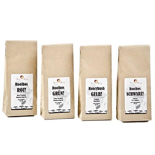 "Tee-Set Geschenkset Probierset Premium Bio-Tee ""Durch den Garten Südafrika"" von TeeVomKap® - 4 x 50g (200g) - Bio (kbA) - koffeinfrei - lose Blätter - Honeybush-Tee - Rooibos-Tee (Roter Tee Lose-blatt)"
