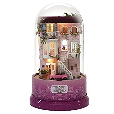CUTEBEE DIY Dollhouse Miniature Kit &Toys, 3D Wooden Dolls House Furniture (with Dust Cover + Music Movement+LED Light), 1:24 Scale Handmade Doll House for Creative Birthday Gift