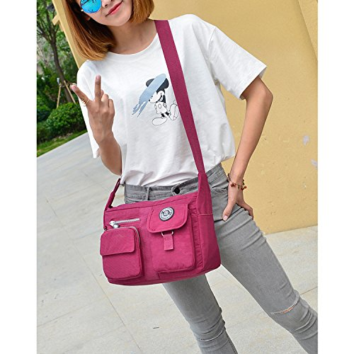 Outreo Messenger Bag Designer Umhängetasche Mädchen Taschen Schultertasche Handtasche Wasserdichte Kuriertasche Damen Sporttasche Reisetasche für Strandtasche Nylon Schwarz