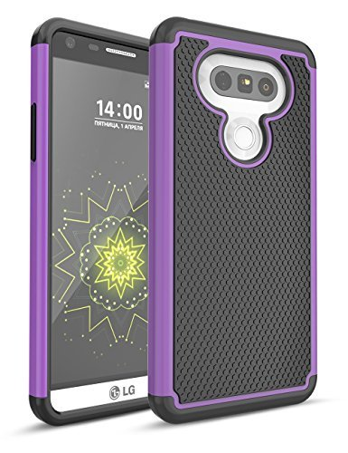 LG G5 Fall, bis, zweilagige Hybrid Defender Rugged Slim Case Massivholz Weich Innen Silikon Bumper Hart PC Back Cover Shell für LG G5 Phone at & T T-Mobile Sprint Verizon entsperrt, Schwarz/Violett
