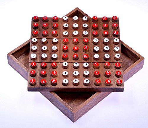 Sudoku - Steckspiel - Denkspiel - Knobelspiel - Geduldspiel - Brettspiel aus Holz mit Zahlen-Steckern
