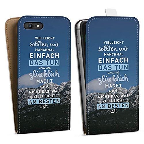 Apple iPhone 6 Hülle Silikon Case Schutz Cover Sprüche Glücklich Statement Downflip Tasche weiß