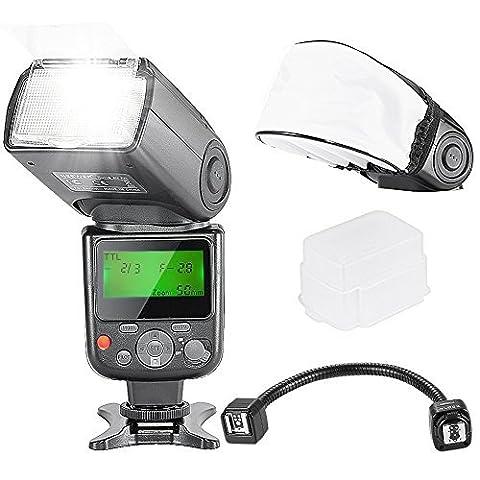 Neewer® VK750 II I-TTL LCD Speedlite Blitz und Aussen-Kamera- Flexible TTL-Blitz Arm Kit für Nikon D7200 D7100 D7000 D5200 D5100 D5000 D3000 D3100 D300 D300S D700 D600 und alle anderen Nikon DSLR-Kameras, Inbegriffen: Neewer VK750 II i-TTL-Blitz für Nikon + Neewer Flexible TTL Blitz Arm für Nikon + Fest Blitz-Diffusor + weich Blitz Diffusor