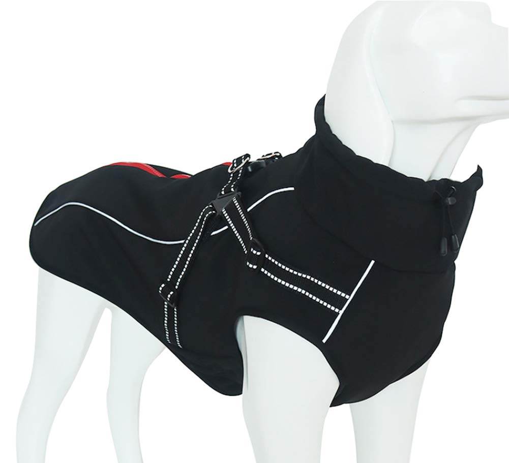 Dog Jacket with Harness, Windproof Dog Vest with Reflective Strips for Medium Large Dogs, Warm and Cozy Dog Sport Vest, Dog Winter Coat, Warm Dog Apparel with High Neckline Collar 2