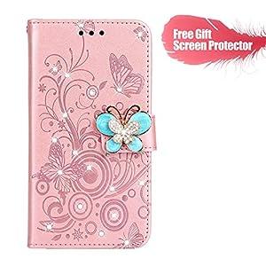 Fatcatparadise Kompatibel mit iPhone 5 / iPhone 5S / iPhone SE Hülle + Displayschutz, Flip Wallet Case mit Kartenhalter und Magnetverschluss Premium PU Leder Hülle Handyhülle (Rose Gold)