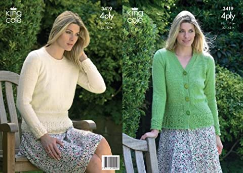 King Cole 4 Ply Knitting Pattern Womens Knitted Sweater & Cardigan 3419