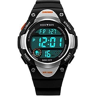 Kinder Sport Digital Armbanduhr Outdoor Wasserdicht Stoppuhr LED Elektronische Handgelenk Uhren für Jungen Mädchen (schwarz)
