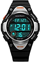 Kids Outdoor Sport Watch Waterproof Swimming Led Digital Watches with Alarm Back Light for Boys Girl-black
