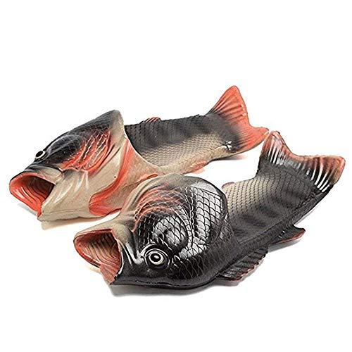 kelee Fisch Hausschuhe Lustige Schuhe Slippers Unisex Anti-Rutsch Strand Besondere Sandalen Dusche Kinder Jungen Mädchen Damen Herren (37 EU, 2:Silber)