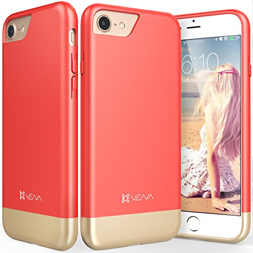 "Coque iPhone 7, Vena [iSlide][Two-Tone] Dock-Friendly Slim Fit Hard Case Cover pour Apple iPhone 7 (4.7"") (Sarcelle/Or) Rouge/Or"