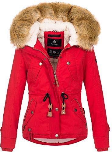 Navahoo warme Damen Designer Winter Jacke Winterjacke mit Kapuze und Teddyfell B643 [B643-Pearl-Rot-Gr.L]
