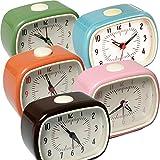 LS-LebenStil Design Retro Wecker Uhr Reisewecker Quarzwecker Tischuhr Vintage Nostalgie Analog Rosa/Pink 11x9x6cm