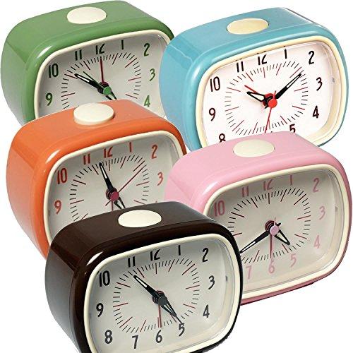 LS-LebenStil Design Retro Wecker Uhr Reisewecker Quarzwecker Tischuhr Vintage Nostalgie Analog Grün 11x9x6cm