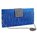 Lumanuby 1x Blau Umhängetasche Satin mit Strass Streifen Clutch Damen Rhinestone Abend Party Oder Tägliche Kette Handtasche Size ca. 26*2.5*13.5cm (Blau)