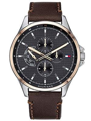 Tommy Hilfiger Reloj Multiesfera para Hombre de Cuarzo con Correa en Cuero 1791615