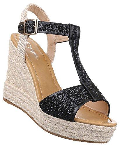 Damen Sandaletten Schuhe Keilabsatz Wedges Plateau Schwarz Silber 36 37 38 39 40 41 Schwarz Qn86gc