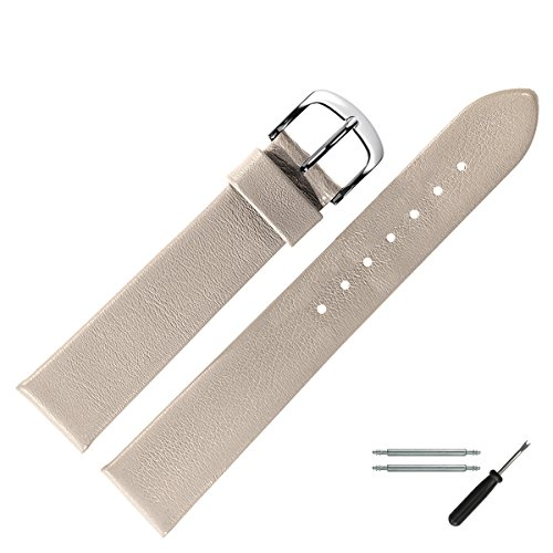 MARBURGER Uhrenarmband 18mm Leder Beige - Uhrband Set 6271837500120