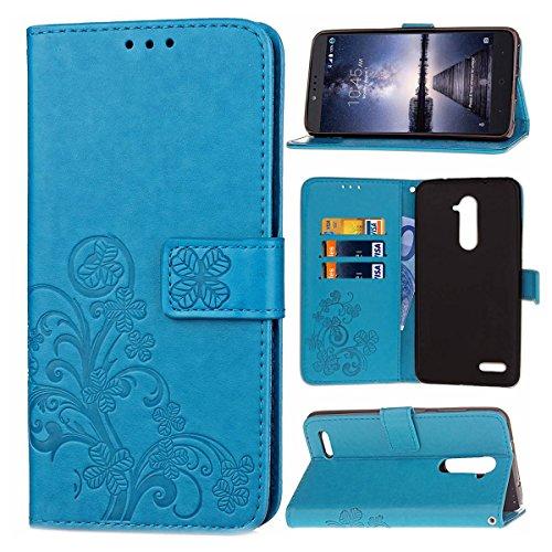 Guran® PU Ledertasche Case für ZTE Zmax Pro Z981 Smartphone Flip Cover Brieftasche und Stent Funktionen Hülle Glücksklee Muster Design Schutzhülle - Blau