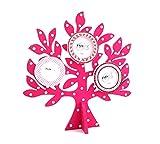 Bilderrahmen Fotobaum Baum mit Ästen aus Holz zum hinstellen 36 cm gross/pink - weiß Babygeschenk Foto Gedächtnisbaum Familie für mehrere Fotos (Pink)