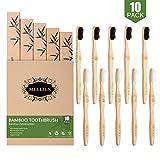 10pcs Brosse à Dents en Bambou Biodégradable Écologique Végétalien Brosse à Dents en Bois