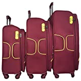 Texas USA - Exclusive Range of Imported Soft Luggage Trolley - Set of 3 - 20 inch Cabin - 24 and 28 inch Check in Bagagge