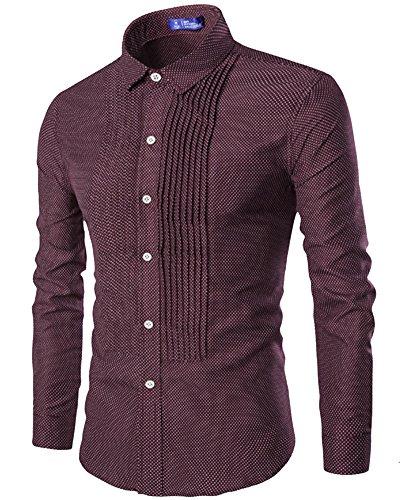 Chemises Homme Slim Fit Manches Longues Plissé Chemise Men Shirt Tops C806 Vin Rouge
