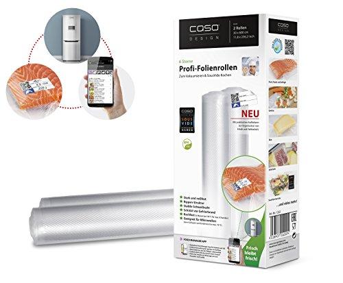 CASO Profi- Folienrollen 30x600 cm (1222) / 2 Rollen mit Etiketten für alle Balken Vakuumierer geeignet / Kochfest - Mikrowellen geeignet - Sous Vide geeignet / stabile Schweißnaht / Materialstärke ca. 160 µm / kostenlose Food-Manager App