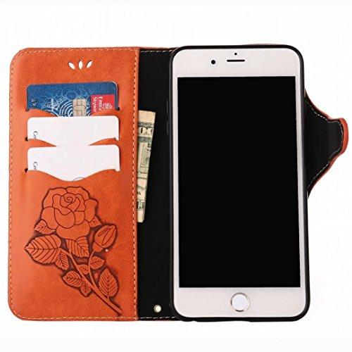 Custodie Apple IPhone 7 Plus Cover, Yiizy Roses Design Custodia Portafoglio Silicone Gomma Flip Cover Case PU Pelle Cuoio Copertura Case Slot Schede Cavalletto Stile Libro Bumper Protettivo Borsa (Ner Arancio