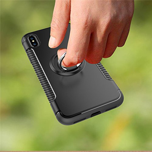 iPhone X Hülle, MOONMINI 2 in 1 Weich TPU Silikon Schale + Hard PC Dual Layer Hybrid Handy Tasche Case Slim Stoßfest Back Schutzschale Schutzhülle für iPhone X (2017) with Rotating Ring Grip Stand Hol Grau