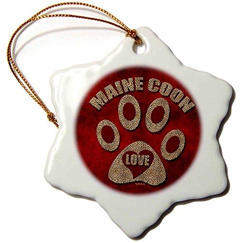 3drose Orn _ Fuchsschwanz 22006_ 1Maine Coon Katze Love Rasse, in Cheetah Print und rot Schneeflocke Ornament, Porzellan, 3Zoll