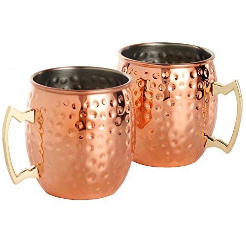51%2Bp5fBijiL Moscow Mule Copper/Stainless Steel Mugs (Set of 2)