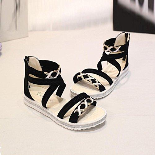 Fulltime®Femmes Chaussures plates été en cuir souple Leisure Sandales Noir